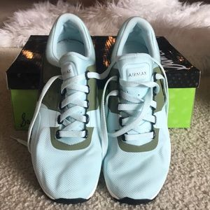 Nike Air Max baby blue and army green tennis shoes